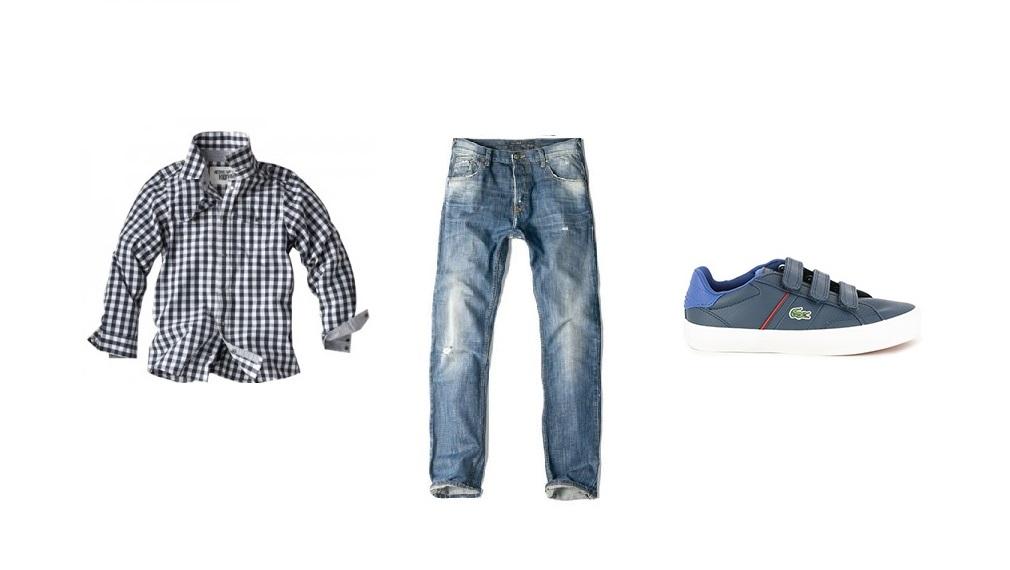 Camisa, vaqueros y deportivas