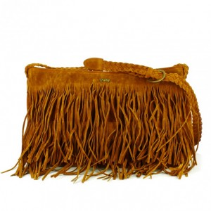 bolso mustang con flecos marron - querol