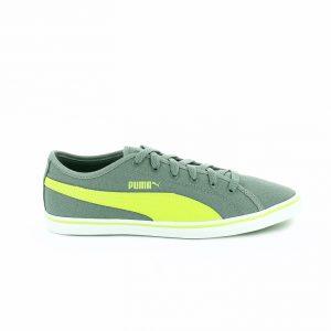 zapatillas puma niños gris y verde fluor con cordones - querolets