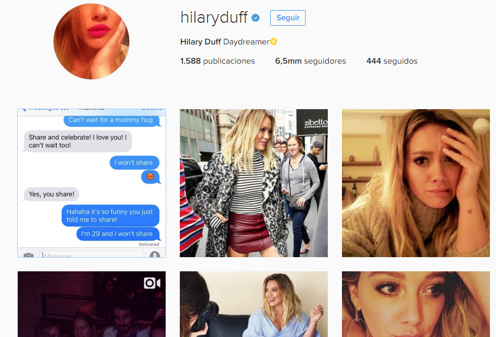 hilary duff /mamás famosas en instagram