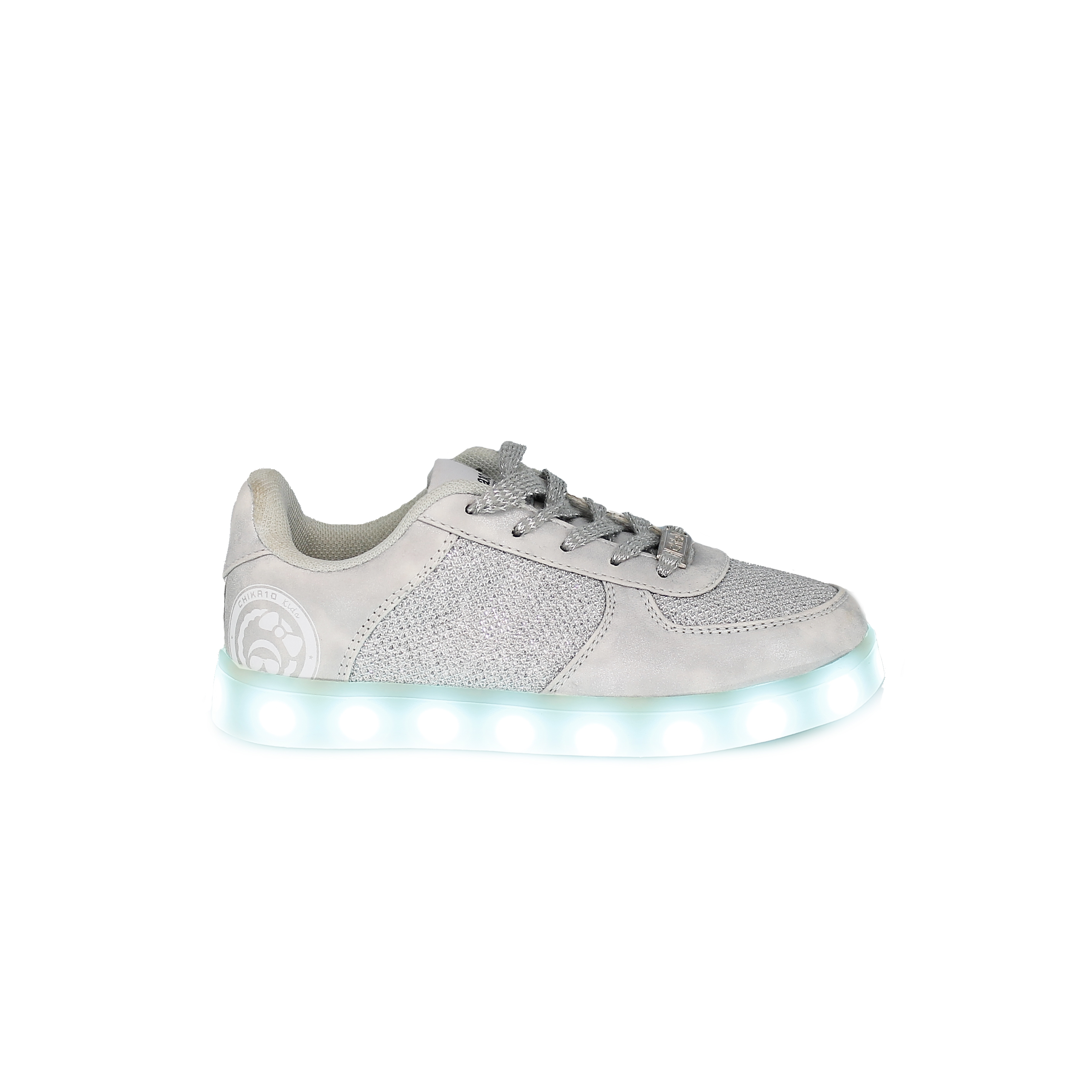 zapatillas plateadas con luces led