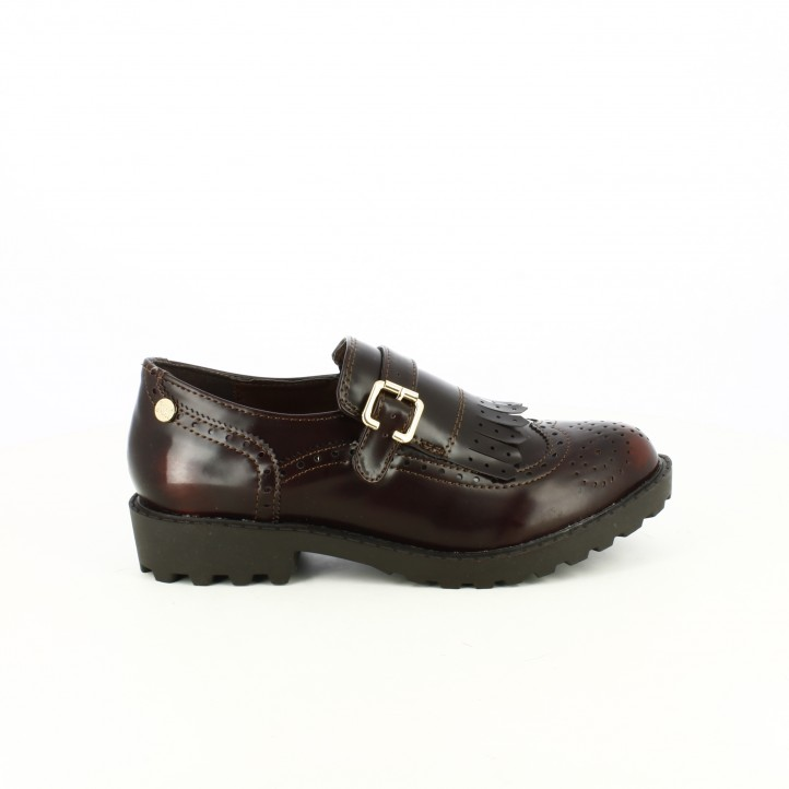 zapatos low cost xti oxford burdeos con flecos