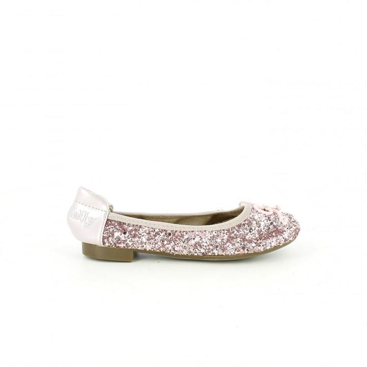 Zapatos de comunión 2017 bailarinas lelli kelly rosas con purpurina