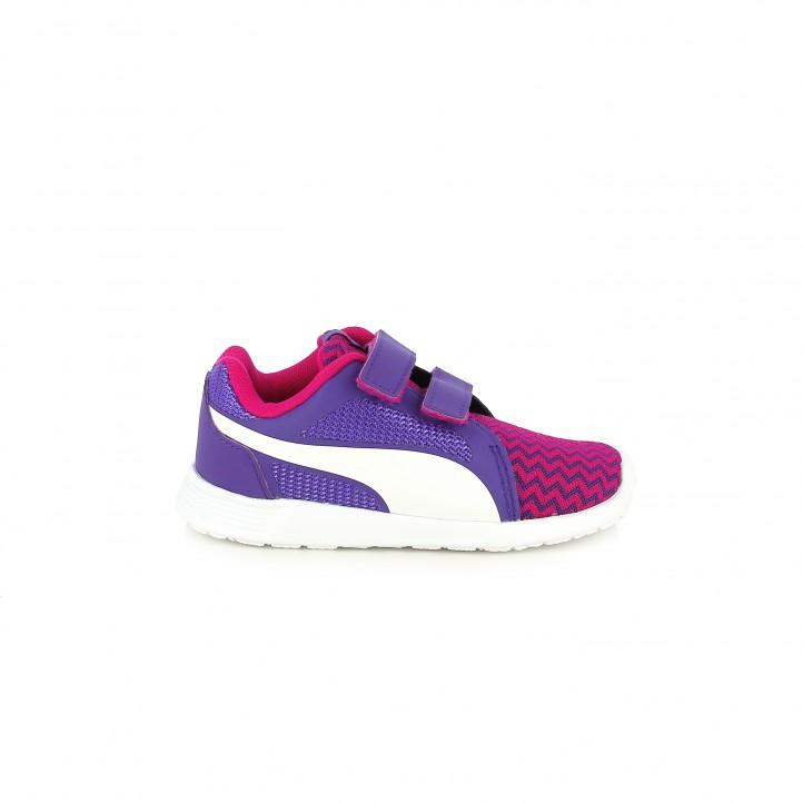 colección de zapatos de primavera / zapatillas deporte puma lilas y rosas con velcros