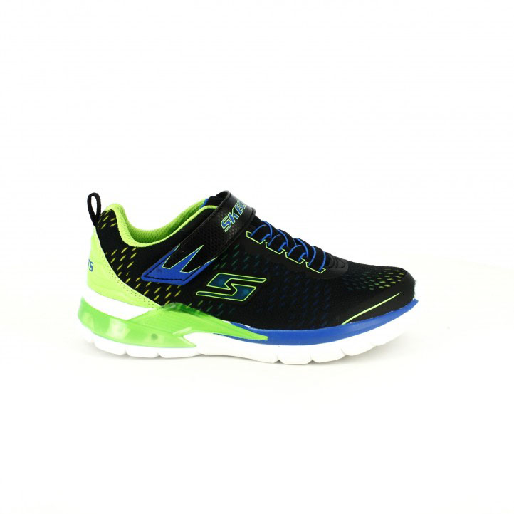 colección de zapatos de primavera / zapatillas deporte skechers negras y verdes con luces