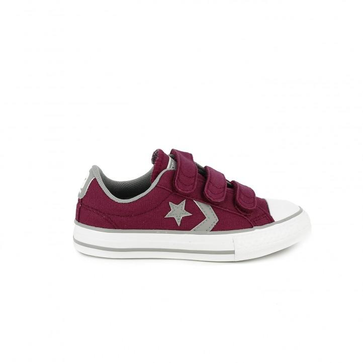 colección de zapatos de primavera / zapatillas lona converse burdeos con tres velcros