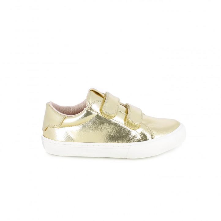 colección de zapatos de primavera / zapatillas lona gioseppo doradas con velcro