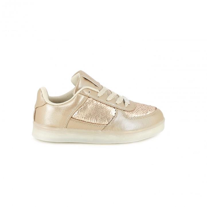 zapatillas con luces de deporte chika10 rosas con lentejuelas y luces led