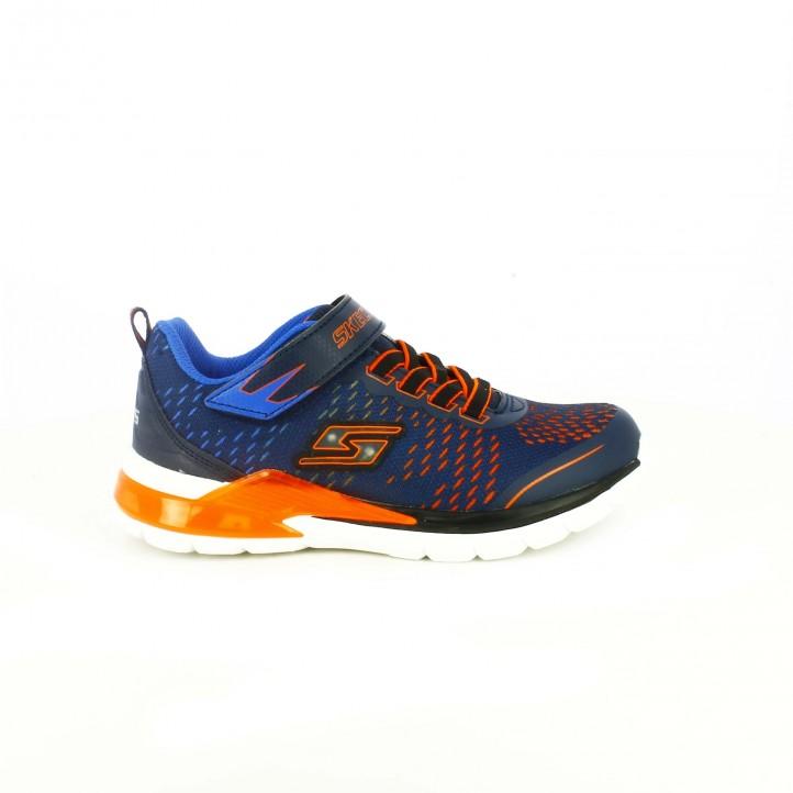 zapatillas deporte skechers azules y naranjas con luces