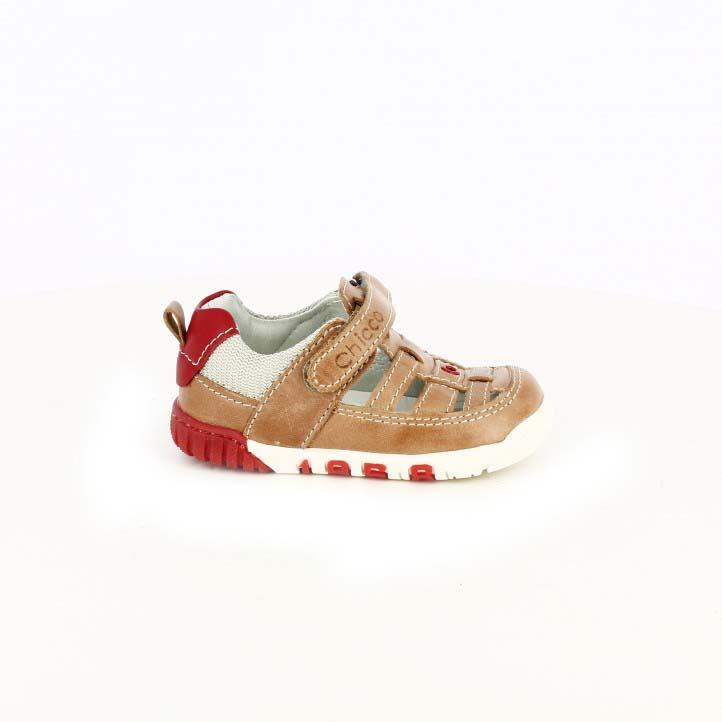 Sandalias Chicco marrones y rojas de piel - zapatos para los pies de tu bebé