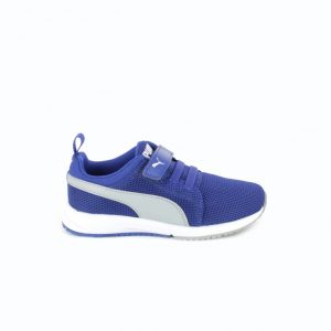 zapatillas puma niños azules con goma y velcro - querolets