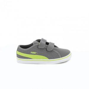 zapatillas puma niños grises y verdes con velcro - querolets