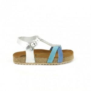 sandalias gioseppo para niña azules y plateadas - querolets