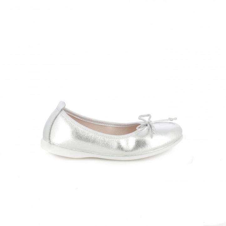 Zapatos de comunión 2017 bailarinas gioseppo plateadas de piel