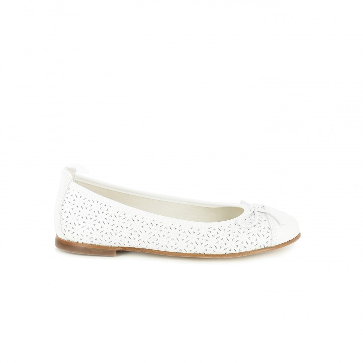 Zapatos de comunión 2017 bailarinas pablosky blancas de piel